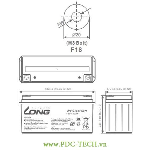 KICH THUOC AC QUY LONG 12V-150AH, WPL150-12N