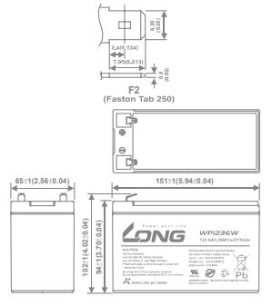 WP1236W WP9-12SHR 12V-9Ah Long battery L151 x W65 x H94 x TH102
