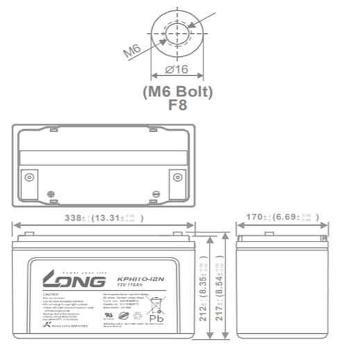 LONG 12V-110AH, KPH110-12N – KICH THUOC
